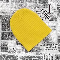 Детская теплая демисезонная шапка желтая