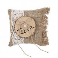 Подушечка для колец с деревянным срезом LOVE в стиле Рустик