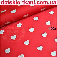 Хлопковая ткань с белыми сердечками 3 см на красном фоне №400а