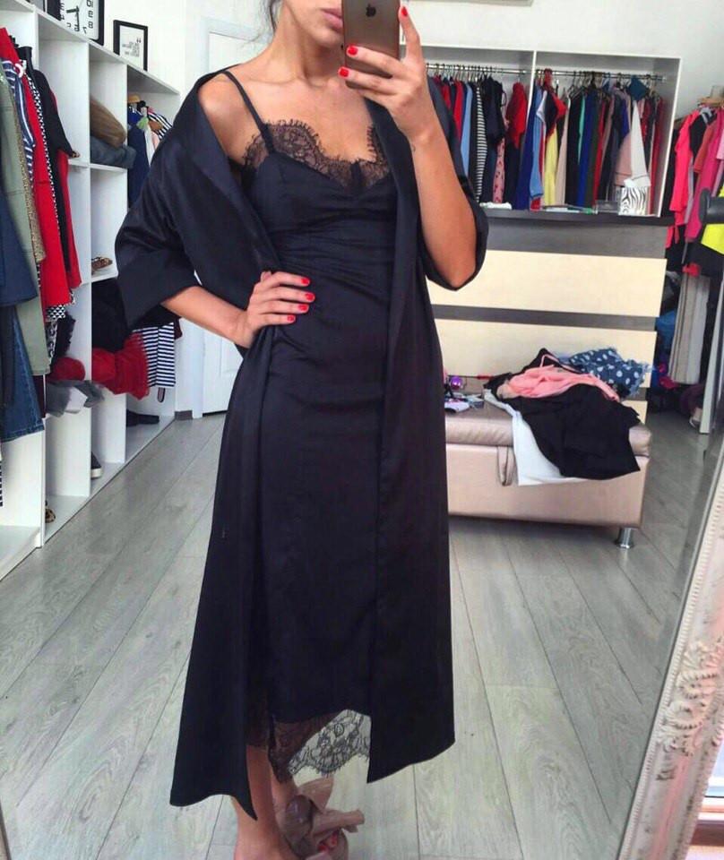 Платье комбинация с накидкой