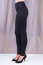 Модные яркие молодежные лосины со вставками эко-кожи и золотистым декором, фото 3