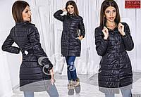 Стильная удлиненная курточка на кнопках, сзади с красивым бантиком, черная