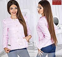Стильная осенняя курточка на кнопках и молнии, круглая горловина. Цвет розовый