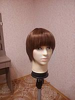 Парик натуральный женский светло коричневый короткий., фото 1