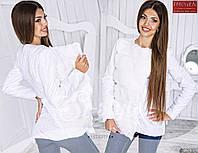 Стильная осенняя курточка на кнопках, спереди с мехом (искусственным), белый цвет