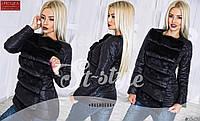 Стильная осенняя курточка на кнопках, спереди с мехом (искусственным), черный цвет