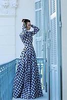 Макси платье в черно белую клетку