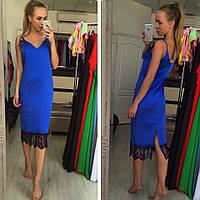 Платье комбинация в синем цвете