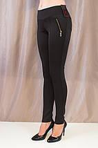 Красивые черные молодежные лосины с золотистыми замочками, средняя посадка, фото 2