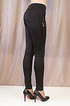 Красивые черные молодежные лосины с золотистыми замочками, средняя посадка, фото 3
