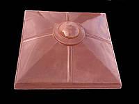 Крышки на забор бетонные «КУЛЯ МАЛА» 450х450 мм. цвет красный, вес 31 кг.