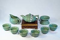 "Набор для чаепитий #8 ""Селадоновая жемчужина"" Чайник, чахай, сито, 6 пиал, фото 1"