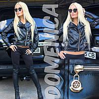 """Женская модная кожаная куртка """"Moncler"""" (+ большие размеры)"""