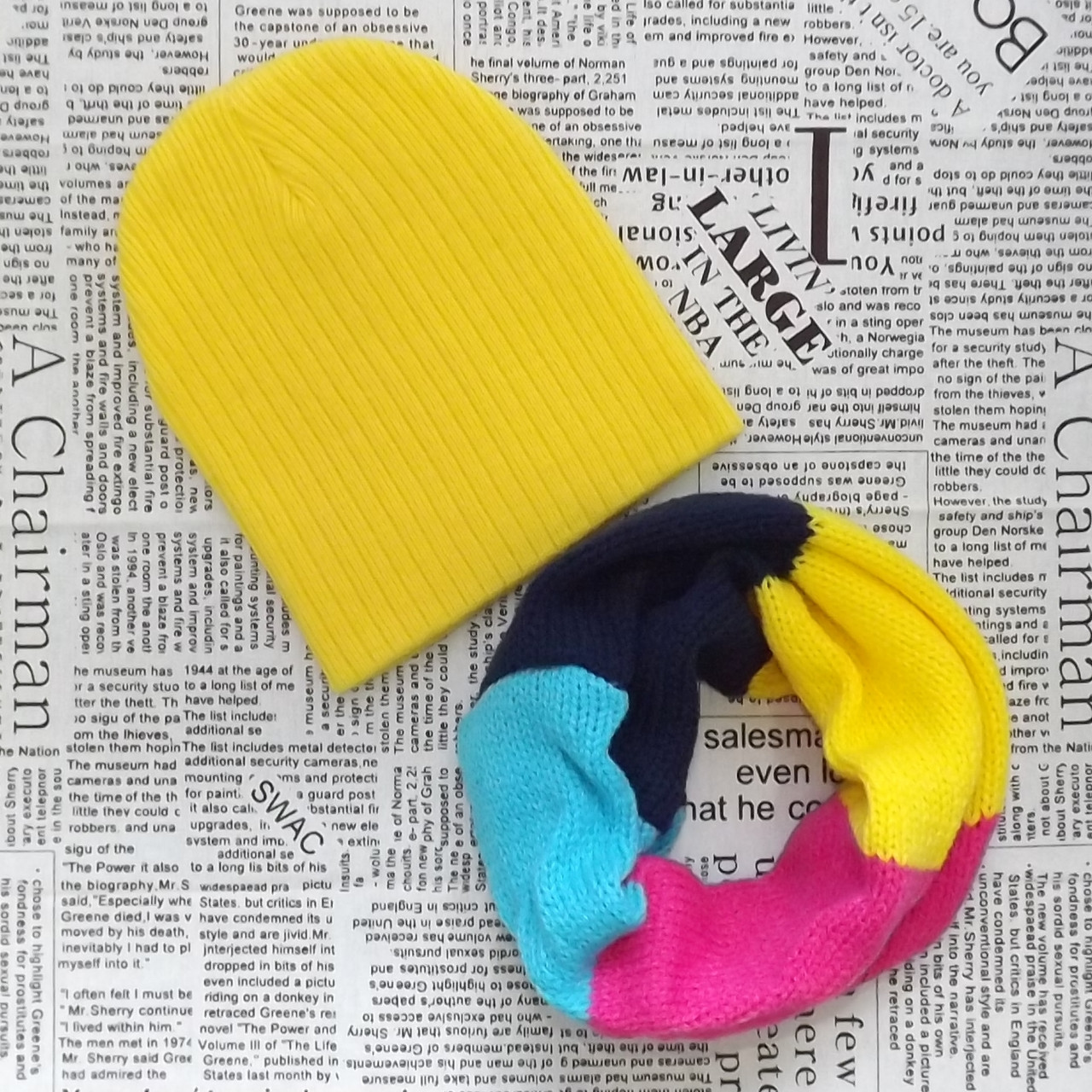 Демисезонный вязанный набор: шапка и хомут