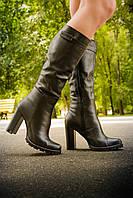 Сапоги высокие натуральная кожа на каблуке