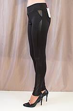 Стильные оригинальные черные лосины с кожаными вставками р. 44,46,48., фото 3