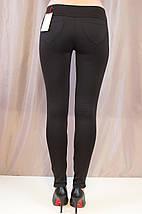 Стильные оригинальные черные лосины с кожаными вставками р. 44,46,48., фото 2