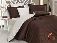 Комплект постельного белья 200х220 HOBBY Exclusive Sateen Diamond  Damask коричневый/ кремовый Жаккард