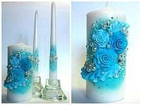 """Свадебные свечи """"Бирюзовые цветы"""""""