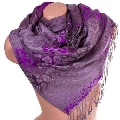 Выразительный женский двусторонний палантин из пашмины 168 на 70 см ETERNO ES2707-9-1 фиолетовый