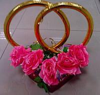 """Свадебные кольца для авто """"Розы"""" (розовые)"""