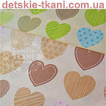 """Ткань """"Сердечки с узорами"""", цвет кофейный с розовым №398а, фото 5"""