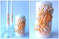 """Свадебные свечи """"Персиковые розы"""""""