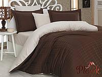 Комплект постельного белья 200х220 HOBBY Exclusive Sateen Diamond Ekose коричневый/ кремовый Жаккард