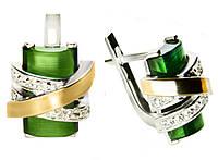 Серебряные серьги с золотыми накладками Оливия (улексит зеленый).