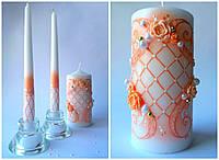 """Свадебные свечи """"Вальс"""" персиковые"""
