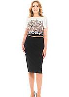 Повседневное  женское платье новинка Кира больших размеров 50, 52, 54, 56 черное