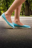 Туфли Т-413 натуральная кожа голубые на  белой подошве