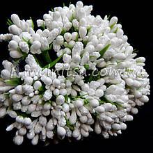 Сложные тычинки с мелким блеском, белый