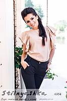 Женская нарядная блузка с коротким рукавом беж