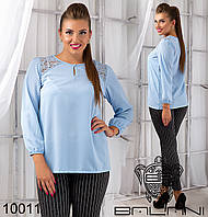 Нежная женская блузка с элементами гипюра.