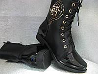 Сапоги ,ботинки демисезонные чёрные на девочку 35р.