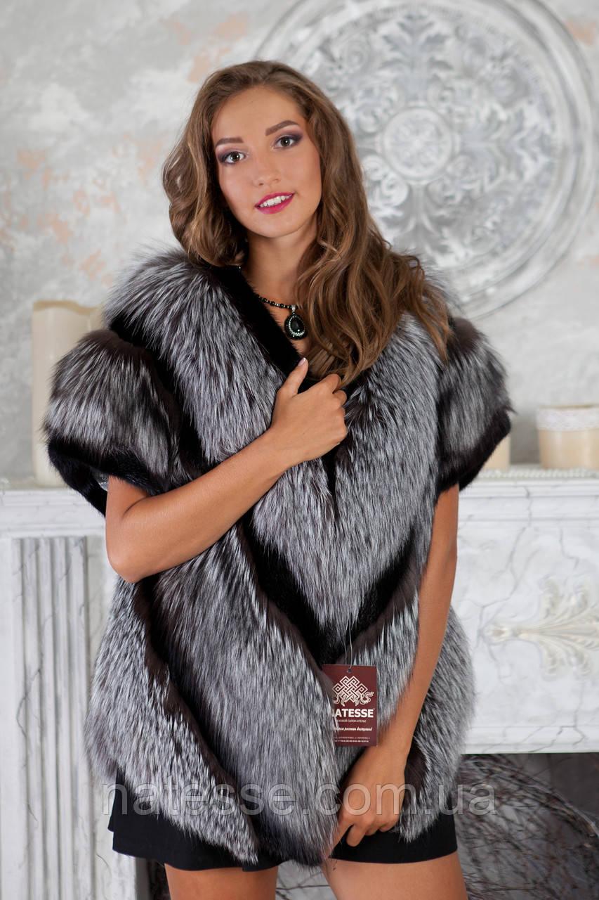 """Жилет из чернобурки и норки """"Диана"""" silver fox fur vest gilet"""