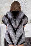 """Жилет из чернобурки и норки """"Диана"""" silver fox fur vest gilet, фото 4"""