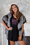 """Жилет из чернобурки и норки """"Диана"""" silver fox fur vest gilet, фото 5"""