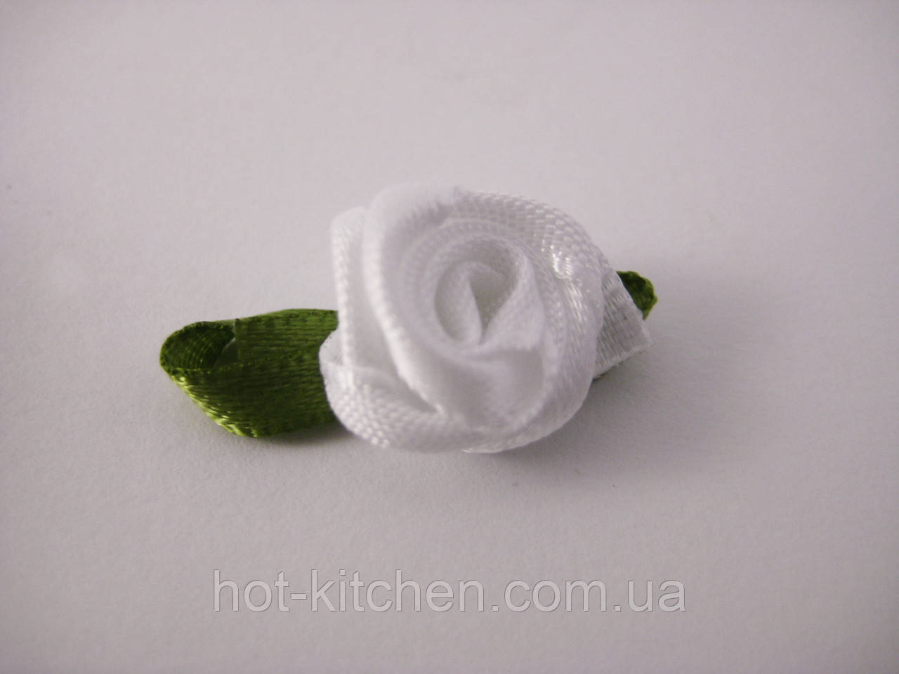 Цветок Роза белая с листочками