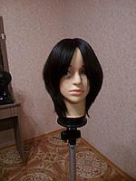 Женский парик из натуральных славянских волос, черный. Имитация кожи головы., фото 1