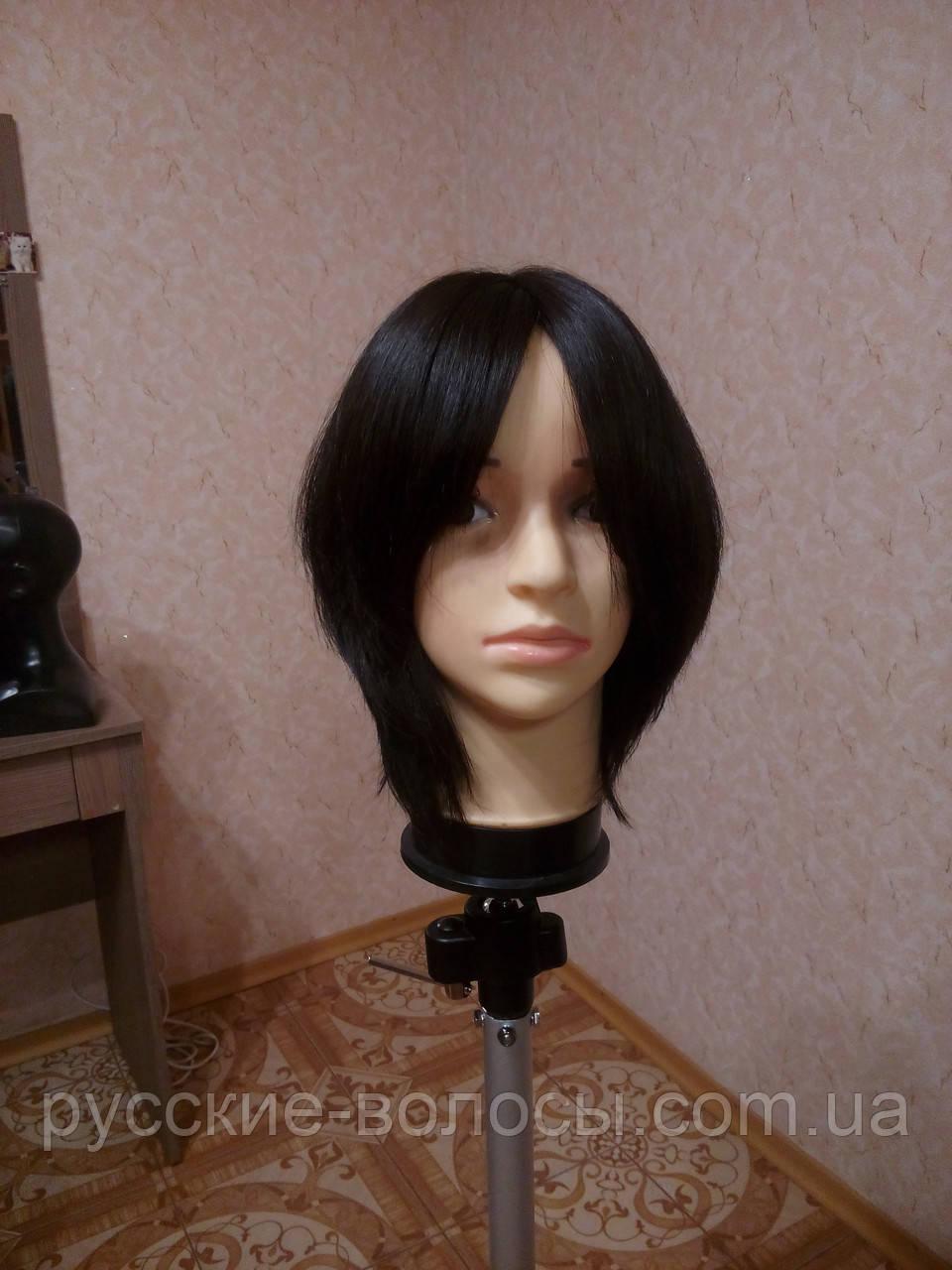 Женский парик из натуральных славянских волос, черный. Имитация кожи головы.