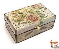 Шкатулка для украшений деревянная Цветы