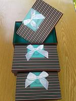 Коробки подарочные прямоугольные коричново-бирюзовые