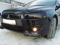 """Защита передних фар Mitsubishi LancerX (10) 2007-> """"SIM"""" темная"""