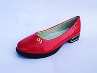 Туфли для девочек лаковые красные на модной подошве