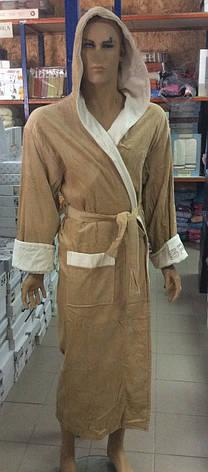 Натуральный Мужской халат SPORT бежевый, фото 2