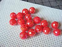 Бусина пластиковая. 8 мм, красная