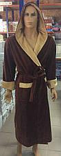 Натуральный Мужской халат SPORT коричневый, фото 3
