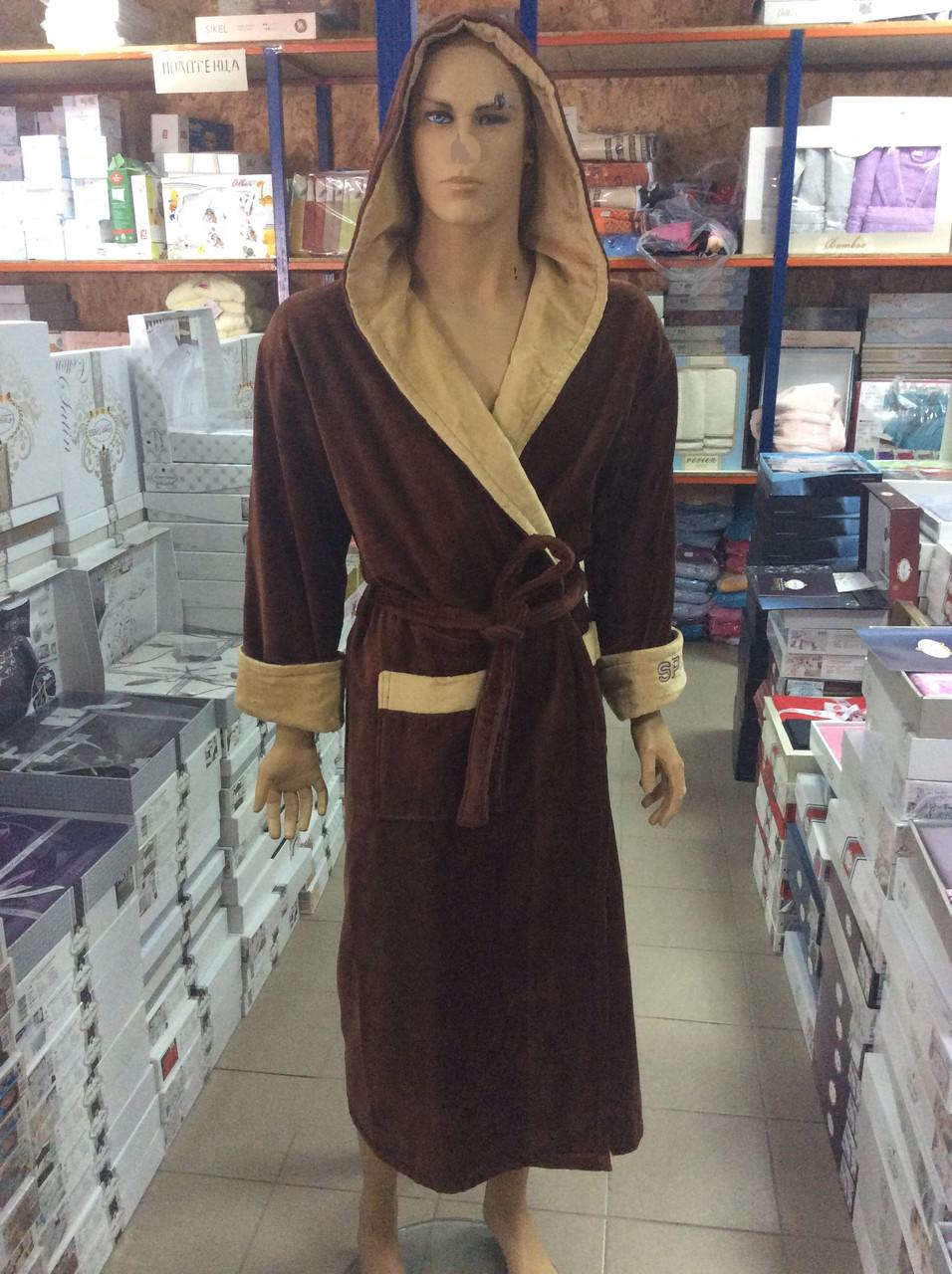 Натуральный Мужской халат SPORT коричневый